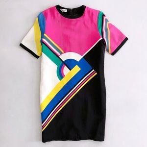 UMI 80's Vintage Retro Color Block Abstract Dress